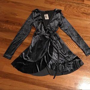 Cotton Candy LA Grey Velvet Ruffle Wrap Dress